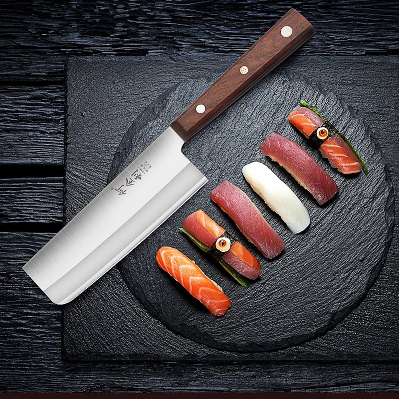 High Quality Stainless Steel Sushi Salmon Sashimi Knife Cutting Raw Fish Meat Slicing Knife Killing Fish Tool Filleting Knives Kitchen Knives     - title=