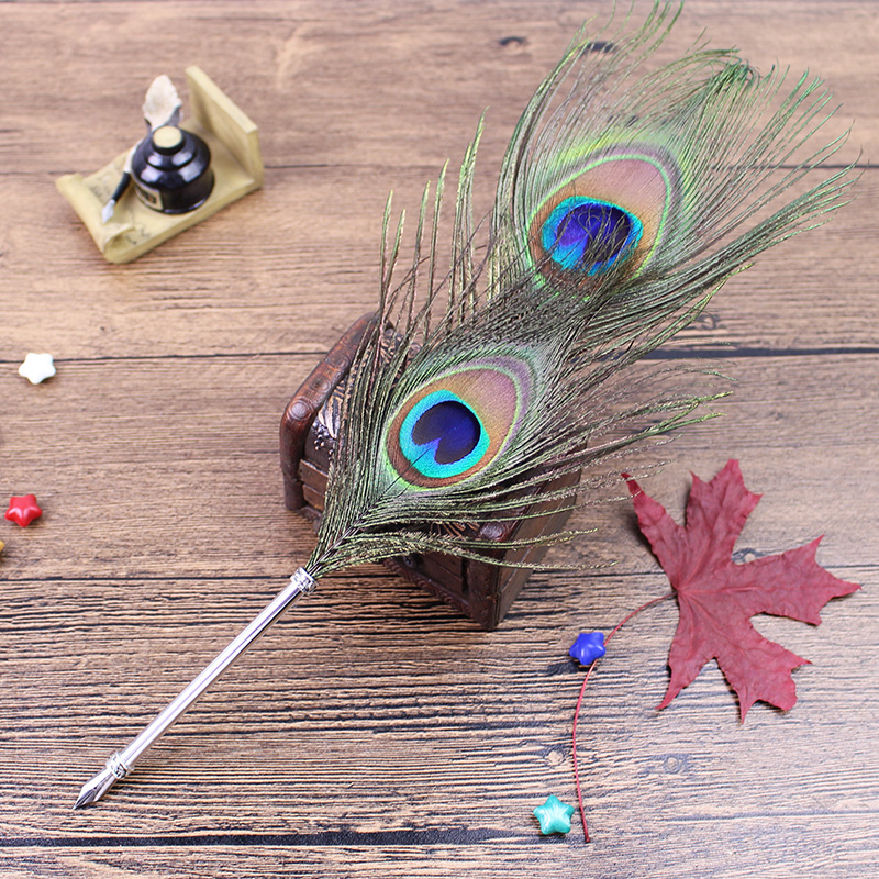 Peacock Wedding Gifts: Fashion Peacock Feather Pen For Wedding Gift-in Fountain