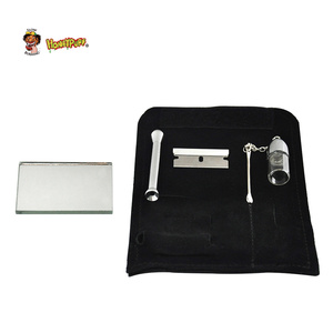 HONEYPUFF 100% Leather Tobacco Pouch Bag+Snuff Bullet Snorter Tool Sniffer Straw Hooter Hoover Pipe Case Pocket(China)