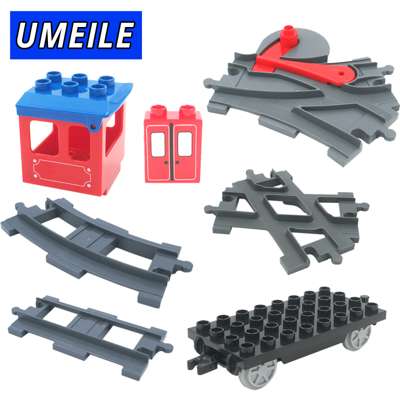 UMEILE Brand Train Track Carriage Wagon Cross/Straight/Curved transfer Rail Big Building Blocks Toys Compatible with Duplo singdio train track big building blocks carriage cross straight curved furcal rail kids educational toys compatible with duplo