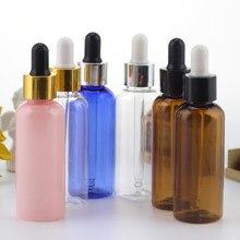 Flacons compte-gouttes vides en plastique pour huiles essentielles 50ml, lot de 5/20/50/100 pièces, 4 couleurs, contenants cosmétiques en caoutchouc, étui de haute qualité