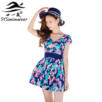 High quality Floral One Pieces Women Swimwear 3 Colors Pleated Skirt Young Slender Ladies Pool Swimsuit Beautiful Bathing suit