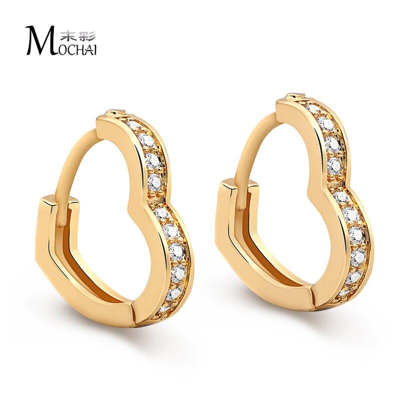 Mochai Heart Shape Cubic Zirconia Hoop Earrings Jewellery for Women ZK20