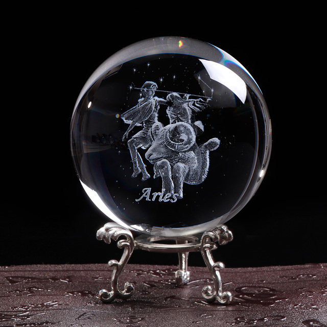 80 MM Laser Engraved Zodiac Sign Crystal Ball Miniature 3D Crystal Craft  Glass Ornament Sphere Home Decoration Accessories Gift 6