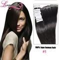 Extensões de cabelo fita 20 pcs remy hair100 % malásia virgem cabelo cabelo humano extensões de fita de cabelo humano tic tac longqi