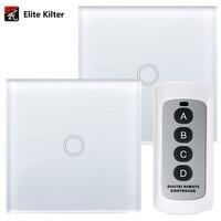 Elite Kilter 1 Gang 2 Ways Touch Switch Crystal Glass Switch Panel Single FireWire EU/UK Standard