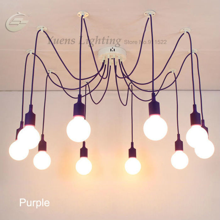 ФОТО Retro Classic Pendant Lamps Colorful E27 Spider Light Bulb Holder Group Diy Lighting Fixtures Free shipping YSL1823