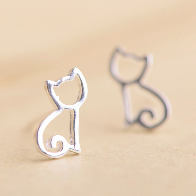 Hollow Out Kitten Cat Earrings Shaped Cute Kitty Studs Jewelry For Women Gift Stud