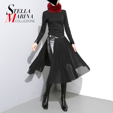 New 2017 European Fashion Women Black Chiffon Skirt With Leather Belt Adjustable High Waist Female Sexy Casual Pleated Skirt 876