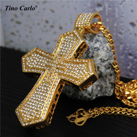 New Stainless Steel Men S18K Gold Plated Jewelry Chunky Iced Out Cross Vintage Pendant Hip Hop