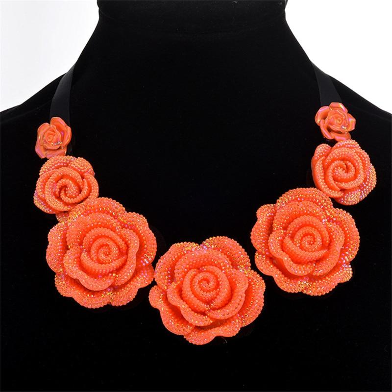 QianBei Womens Chain cloth acrylic Bead Bib Statement Necklace Pendant Choker Fashion Jewelry Bridal Wedding Party Free Shipping