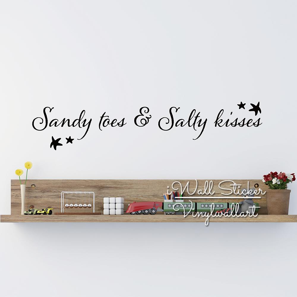 US $11.04 15% OFF|Sandy Toes & Salty Kisses Quotes Wall Decal Beach Quote  Wall Sticker Happy Holidays Wall Decor Bedroom Decal Cut Vinyl Q258-in Wall  ...