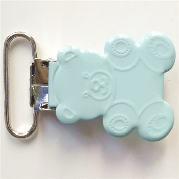 200pcs/lot 2017 latest design 25mm stainless steel soft blue ted bear shaped pacifier clips holder wholesale
