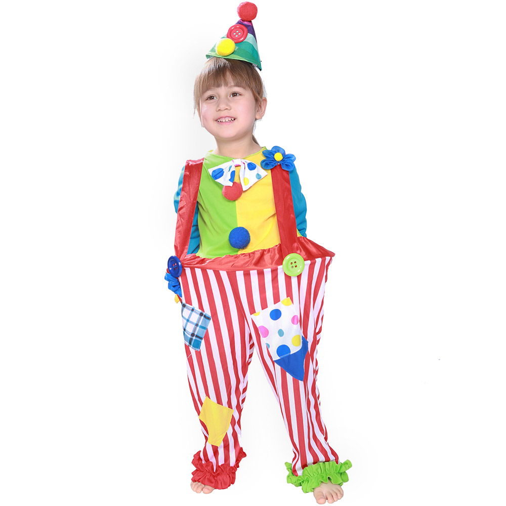 Girls Clown Costume Childs Circus Halloween Fancy Dress Carnival Outfit Kids