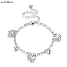 Fashion woman anklets silver color flowers charm foot Bracelet pretty cute girl foot accessories designer jewelry tornozeleira