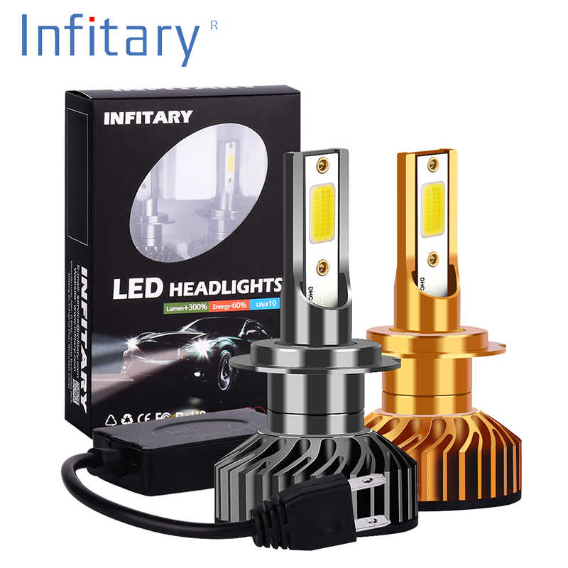 Infitary 2 Pcs LED Car Headlight 72W 8000LM 6500K H7 LED H4 H1 H11 H3 H13 H27 880 9006 9007 Auto Headlamp Fog Light Bulb12V 24V