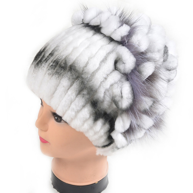 Hot Sales Winter Beanies For Women 5 Colors Stripes Real Rex Rabbit Fur Hats With Fur Flower Trims Natural Rabbit Fur Caps