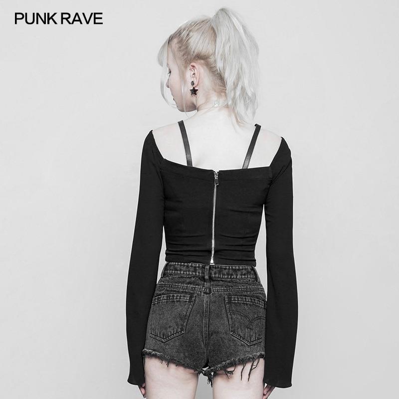 Punk Rave noir gothique mode fermeture éclair décoration en mousseline de soie femmes Sexy court t-shirts hauts visuel Kei OPT230 - 2