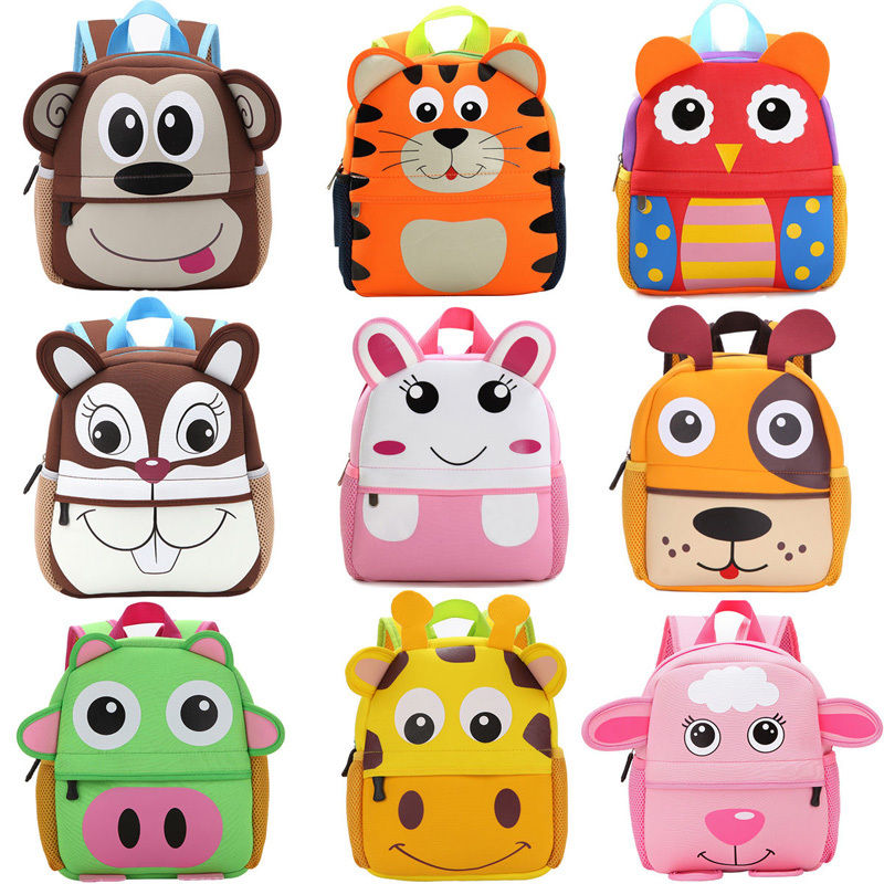 Animal Plush Backpack Toddler Kid Children Boy Girl 3D Cartoon School Bag Kindergarten