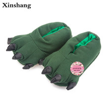 2017 Winter Warm Soft indoor floor Slippers Women Men Children Shoes Paw Funny Animal Christmas Monster Dinosaur Claw Plush Home