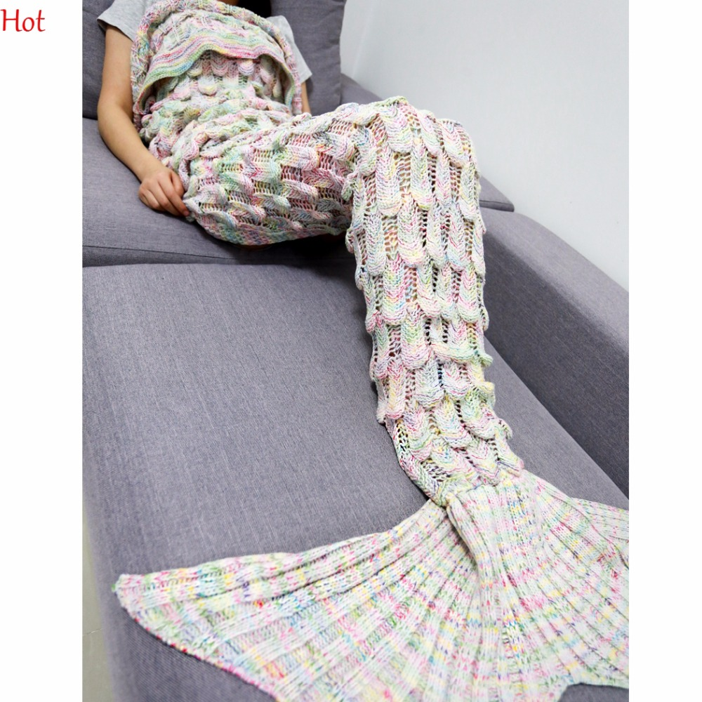 Reading Wrap Sweater Handmade Knit Crochet Mermaid Tail Cover Blanket Adult  Sleeping Sofa Blanket Scales Dress Sweater SVB030792