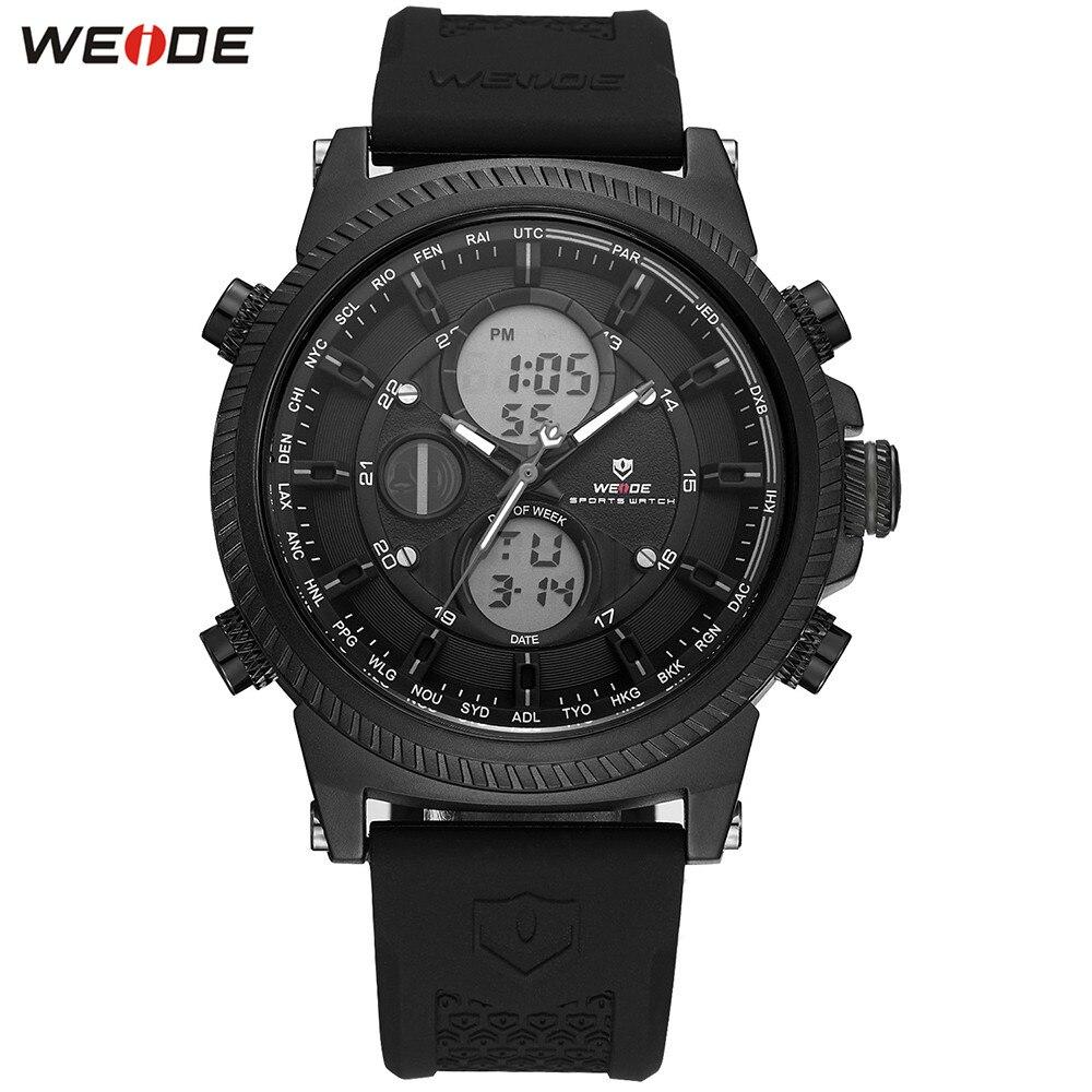 Fashion WEIDE Stopwatch Watch Mens Sports Watch Men Digital Quartz LED Week Day Date Watch Silicone Band Wristwatches Clock Gift цена и фото