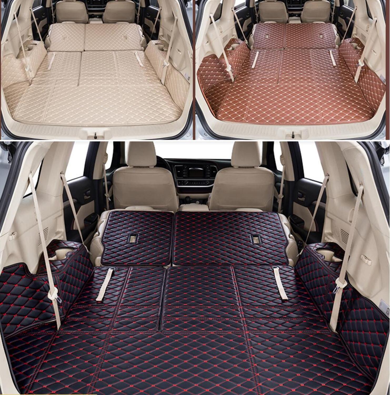 Fiber Leather Car Trunk Mat For Toyota Highlander 2013 2014 2015 2016 2017 2018 2019 Kluger Car Accessories