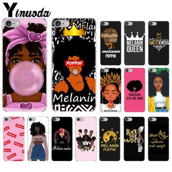 Yinuoda Melanin Poppin Aba girl TPU Transparent Phone Case Shell for Apple iPhone 8 7 6 6S Plus X XS MAX 5 5S SE XR Mobile Cover image