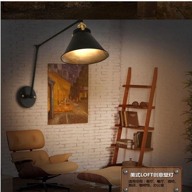 Industrial Vintage E27 Long Arm Wall Lamp Adjustable Wall Lights LOFT  Handle Metal Sconce Fixtures Cafe
