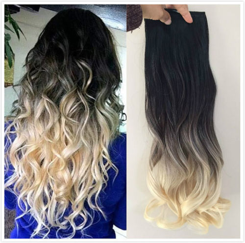 Hot Queen Ombre Balayage European Remy Clip in Hair Extensions Straight #1b/613 Clip ins 7PCS/100G cabelo humano BY201