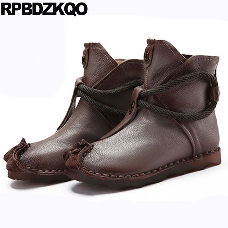 Round Toe Short Brand Women Winter Boots Genuine Leather Chinese Booties Grey Fall Handmade Ankle Autumn Flat Shoes Ladies huizumei new genuine leather women s boots autumn and winter shoes retro handmade round toe soft bottom rubber ankle ladies boot