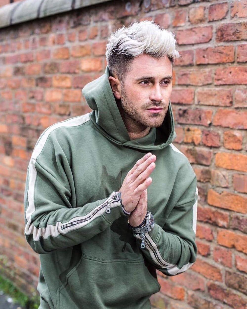 HIPFANDI 2017 New Men Brand Zippe Side Splice Hoodies Zipped Sleeve Pullovers Hoodies High Street Black/Green/Khaki Sweatshirts