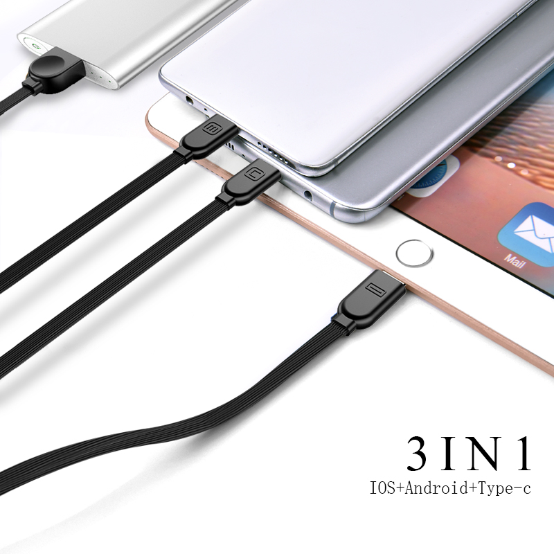 Oatsbasf USB Cable 3 In 1 iSO for IPhone X 5 6 7 8 Plus for Type C Cable Charger Micro Cable for Huawei Samsung Xiaomi