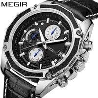 2017 Megir Watches Men Luxury Brand Chronograph Business Men Watches Male Clock 3ATM Sports Leather Quartz