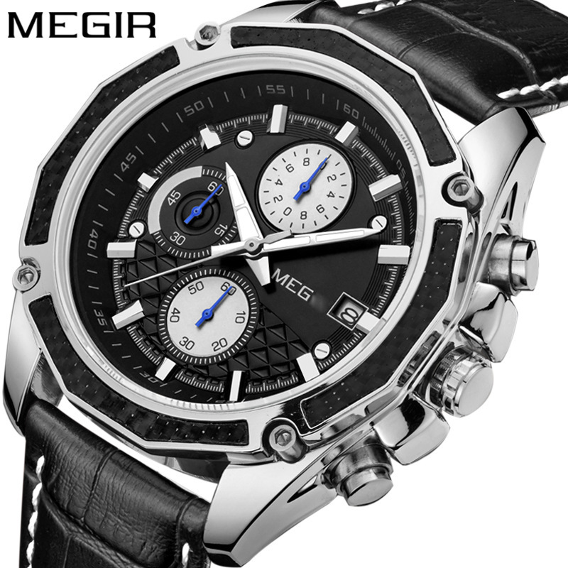 2017 Megir Watches Men Luxury Brand Chronograph Business Men Watches Male Clock 3ATM Sports Leather Quartz-Watch Reloj Hombre