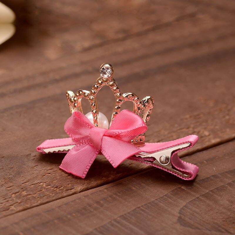 Small Pink Bowknots Crown Tiara Hairpins Clear Rhinestone Girls Hair Clip Metal Crown Jewelry