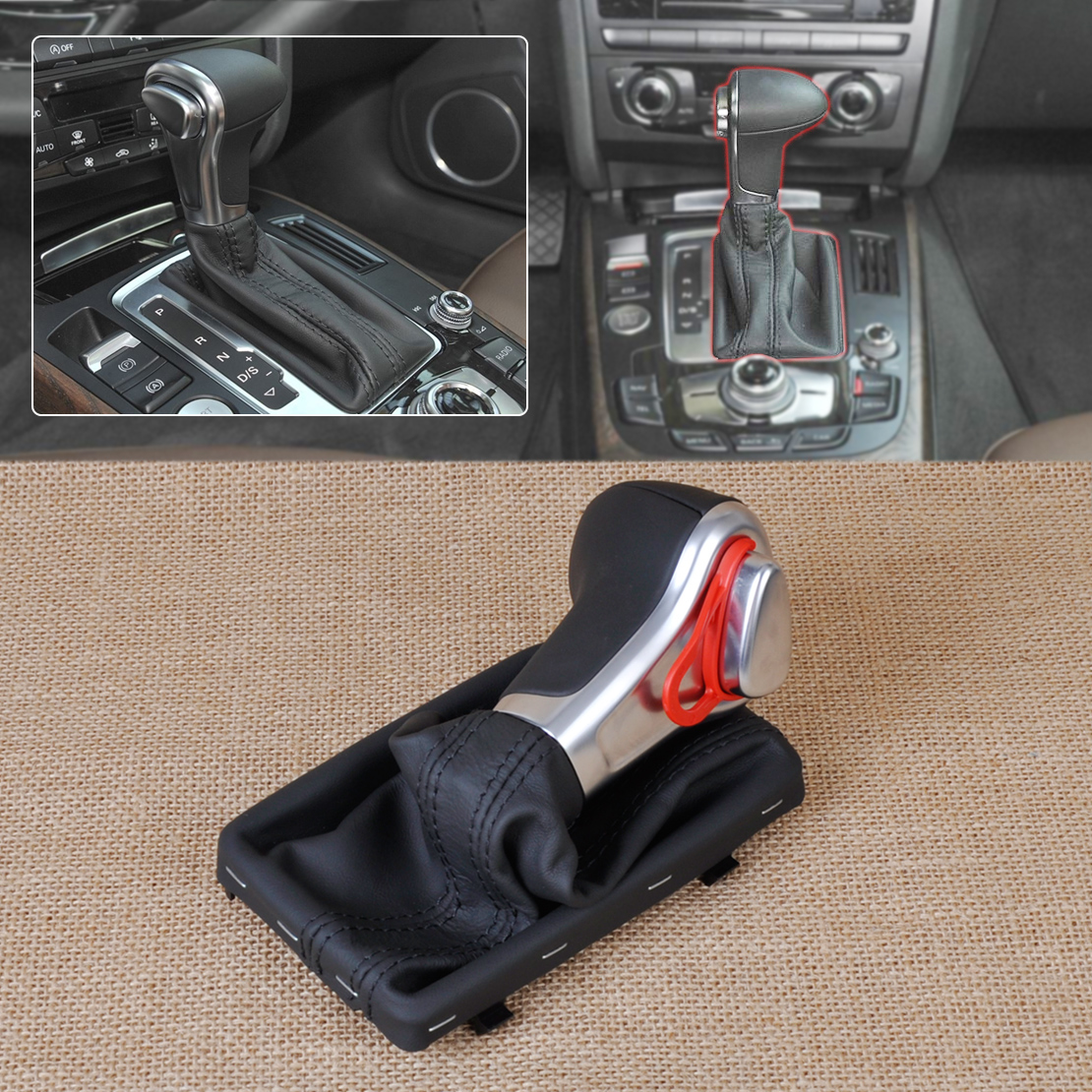 CITALL PU Leather AT Shift Knob + Gaiter for Audi A3 8P 2004-2015 A4 B8 2009-2015 A5 A6 C6 2006 - 2011 Q7 Q5 2009 2010 2011-2015