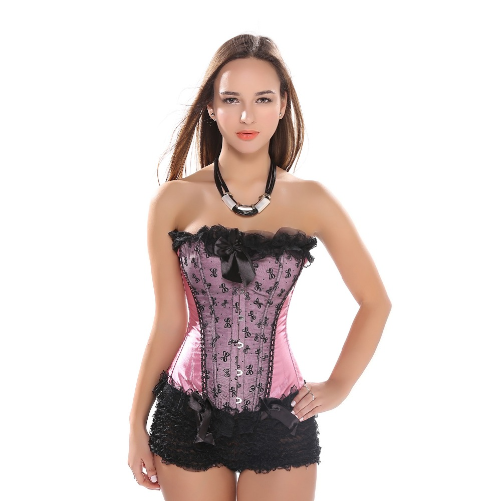 Women Bow-knot   Corset   Overbust Lace trim Slim Body Shaper   Bustier   Birdal Wedding Facncy Waist   Bustier     Corset   Top Free Shipping