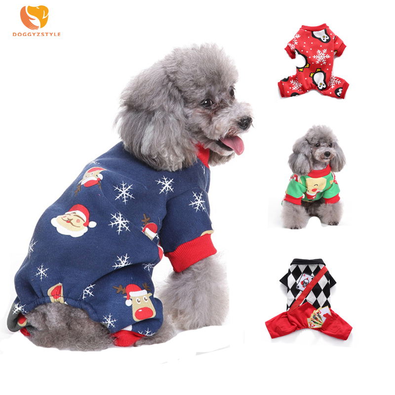 Winter Christmas Snowflake Dog Jumpsuit Warm Cartoon Printed Pattern Pet Clothes Puppy Cat Pajamas Pets Apparel Teddy Chihuahua