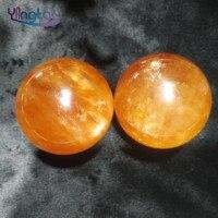 Natural crystal ball orange calcite sphere iceland spar balls home decoration
