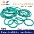 Уплотнительные кольца Green FKM из фторруглеродного каучука, уплотнительные кольца CS5.7mm OD52/55/60/62/65/70/75/80/85/90*5,7 мм, уплотнительная прокладка, топли...