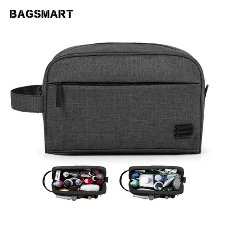 BAGSMART Unisex Travel Toiletry Bag Waterproof Toiletry Kit Kit Dopp Boleh Dipangkin Besar Kapasiti Cosmetice Bags For Packing Make Up