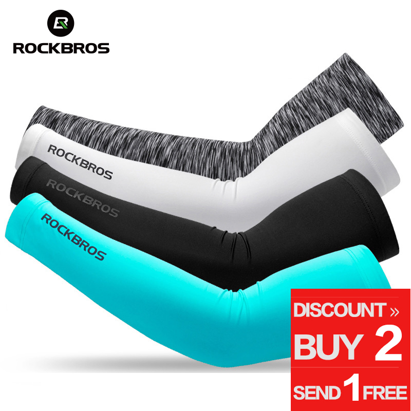 ROCKBROS Cycling Ice Fabric Running Camping Arm Warmers Basketball Sleeve Arm Sleeve Outdoor Sports Sleeves Summer Safety Gear