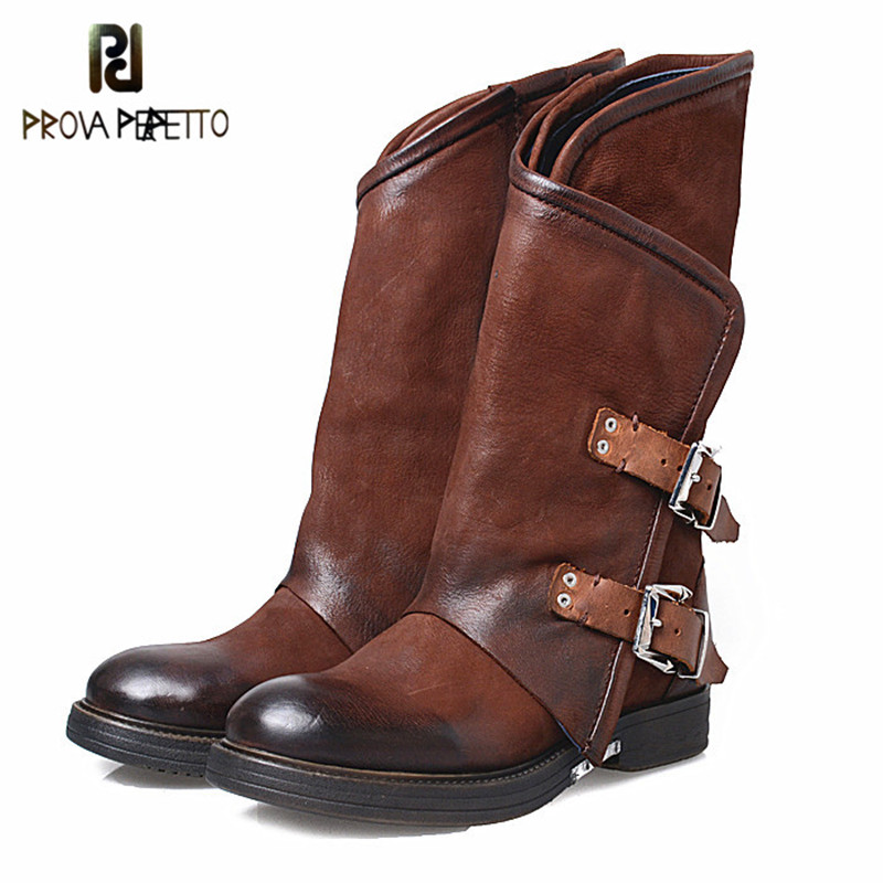 Prova Perfetto Original Design Real Leather Buckle Strap Patchwork Woman Chelsea Boots Thickness Bottom Big Size Low Heel Boots-in Mid-Calf Boots from Shoes    1