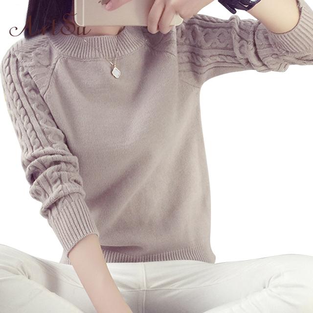 ArtSu Autum Inverno 2017 Camisola Das Mulheres de Alta Qualidade Coreano Retro Torção Em Torno Do Pescoço Longo-sleeved Blusas De Malha Pullover 8303