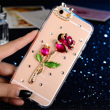 3D Bling Crystal Diamond Bowknot Rose Peacock Beautiful Girl Phone Case For iPhone 11 Pro Max XS XR X 8 7 Plus 6 6SPlus 5 5S