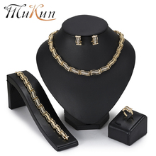 купить MuKun New Fashion Dubai Jewelry Sets African Beads Jewelry Set For Women Wedding Indian Ethiopian Jewelry Statement Necklace Set дешево