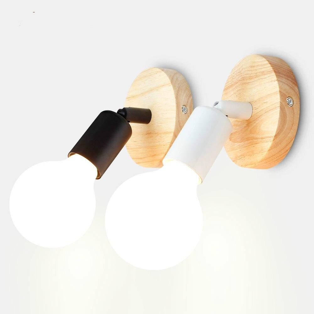 Creatief Nordic Loft Stijl Led Wandlamp Moderne Houten Lamp Industriële Retro Ijzeren Muur Lamp Bar Cafe Restaurant Wandlampen Voor Thuis