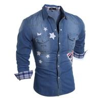 Brand 2017 Denim Men Dress Shirt Clothing Jeans Camisa Social Masculina Long Sleeve Blue Male