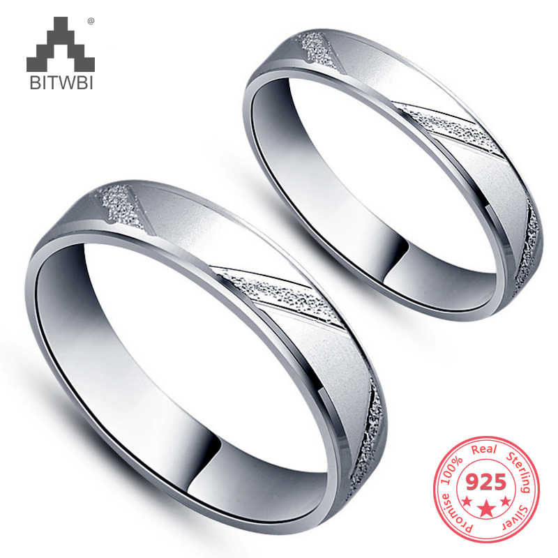 Hot 2018 925 Sterling Silver Couple Rings for Women and Men Engagement Wedding Rings Couple Jewelry
